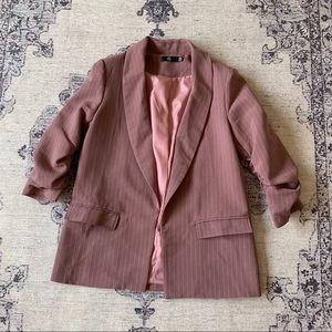 Missguided plum blazer w ruched sleeves